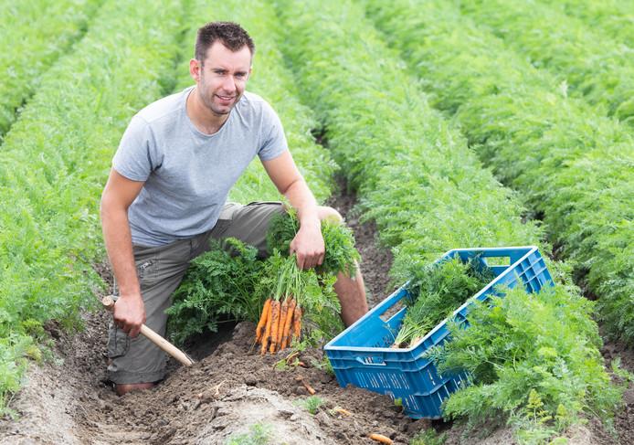 Boer Den Ouden met zijn eerste oogst van dit jaar.