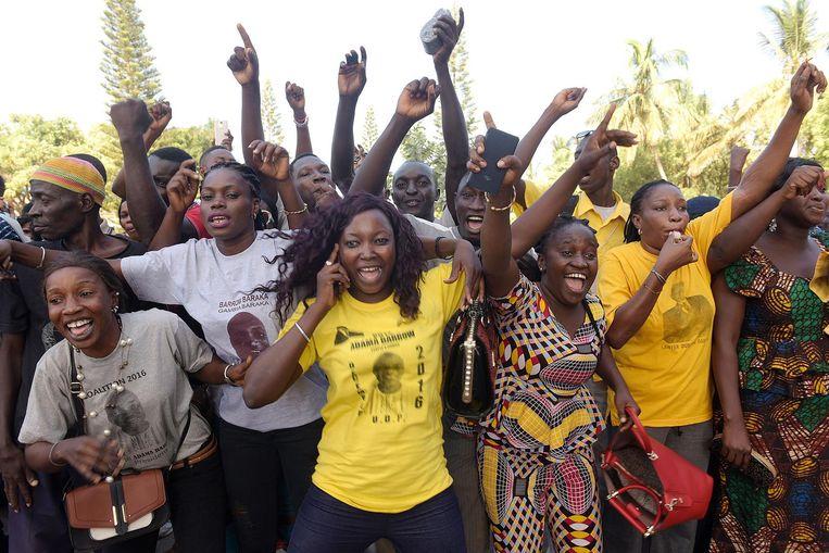 Feest na de vrijlating van oppositieleider Ousainou Darboe. Beeld afp