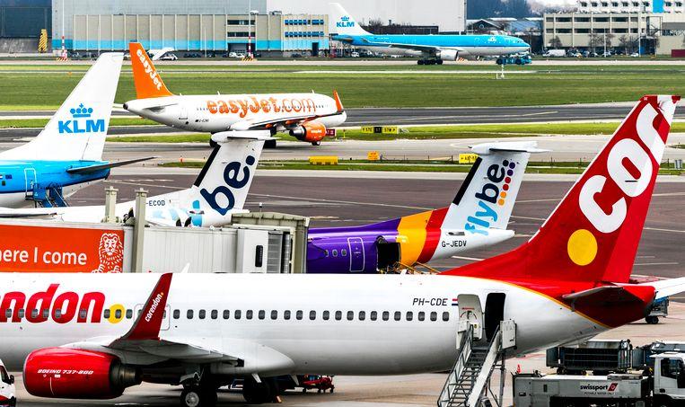 Vliegtuigen op Schiphol. Beeld ANP