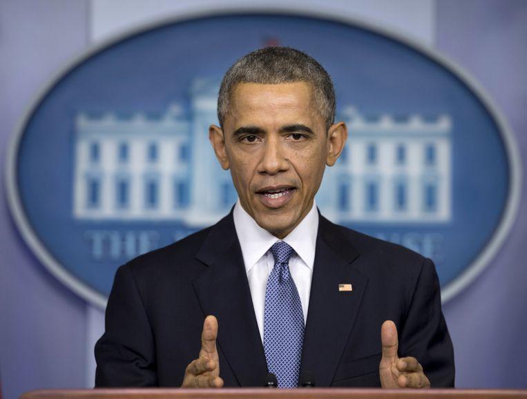 Obama tijdens een persconferentie. Beeld ap