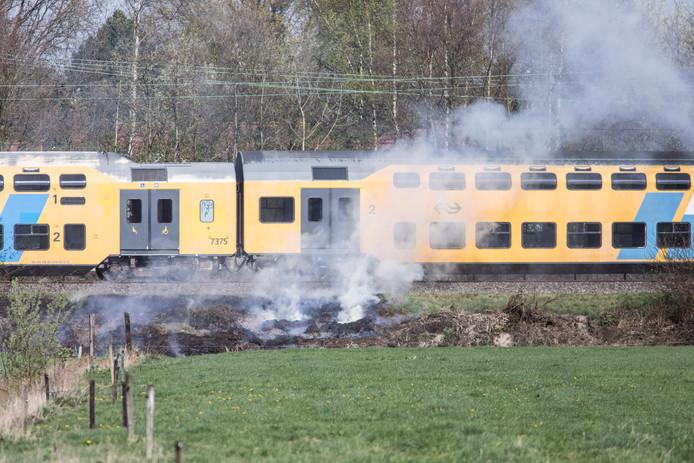 Ter illustratie: bermbrand langs het spoor.