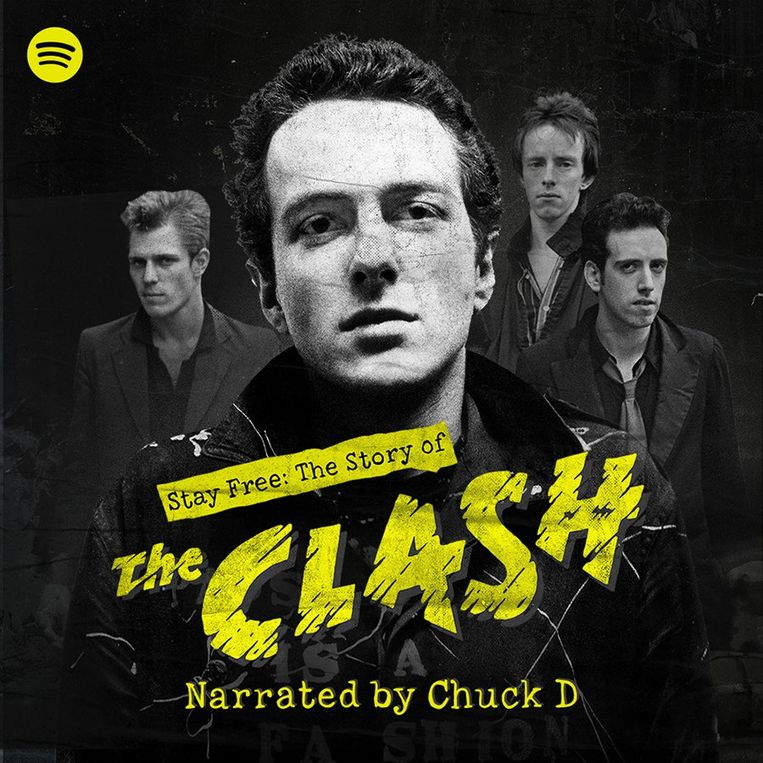 Affiche van de podcast 'Stay free: The story of The Clash' Beeld Spotify