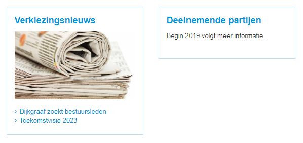 De verkiezingen leven ook al volop op de website van Brabantse Delta... meer informatie begin 2019.