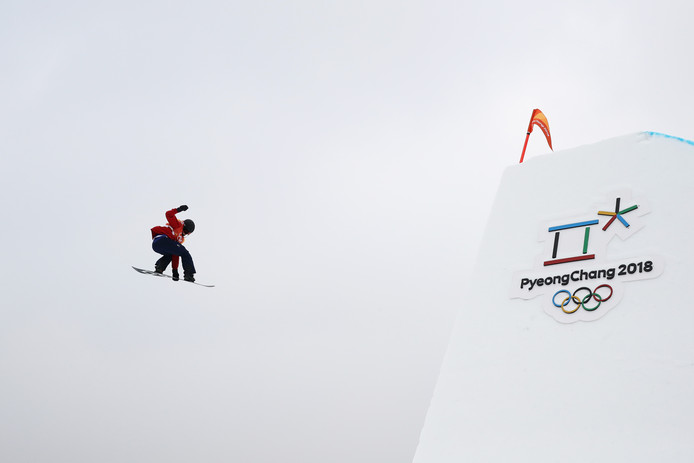 Snowboarder Jamie Nicholls op het onderdeel slopestyle.