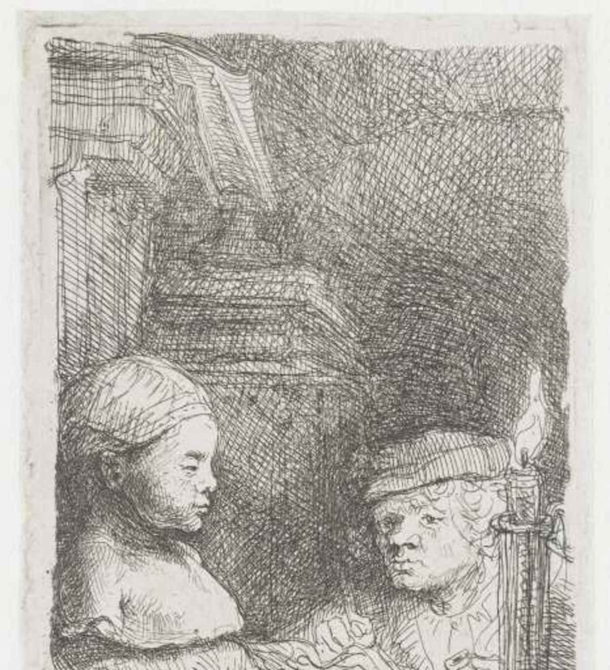 Rembrandt, Leerling tekenend naar gipsmodel. (1639-1643) Rijksmuseum.