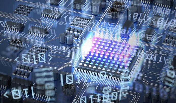Concept voor quantum computing,  circuit and qubits.
