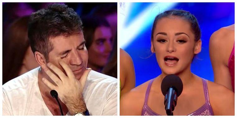 Simon Cowell in tranen na de hernieuwde ontmoeting met Julia (rechts, tijdens haar auditie in 2017)