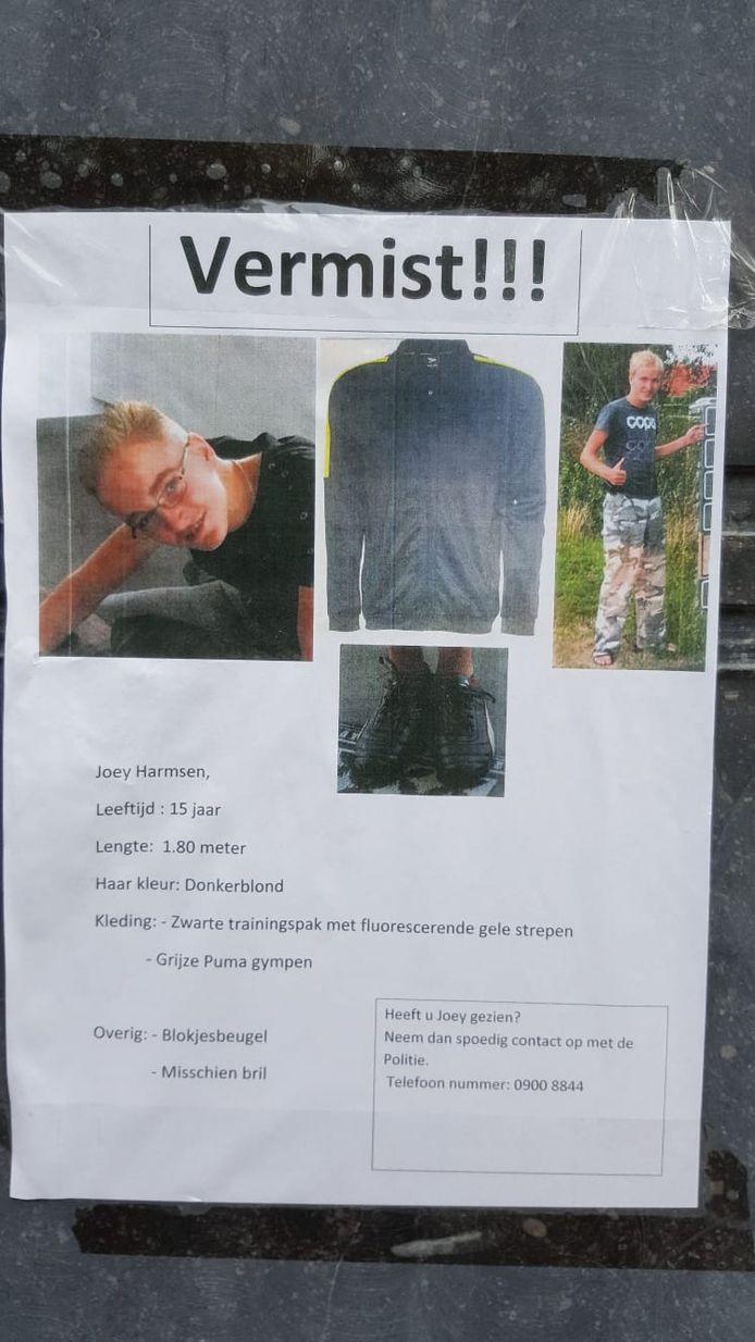 De pleegouders van Joey hebben flyers verspreid om hem op te sporen.