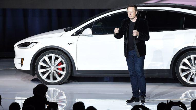 Tesla-CEO Elon Musk bij de lancering van het 'Model X'. Beeld AFP