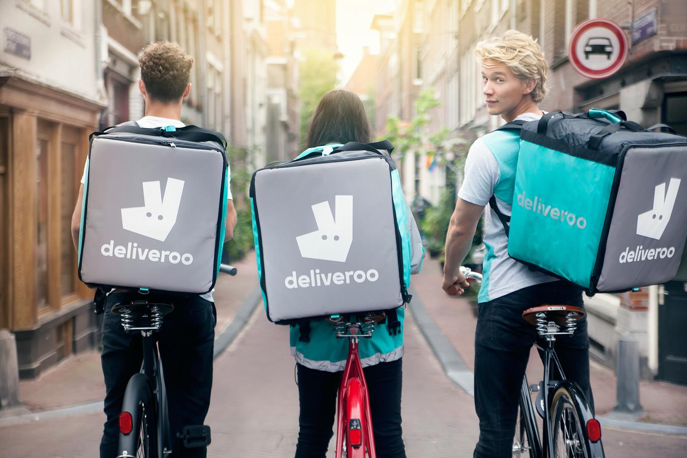 Bezorgers van Deliveroo in Amsterdam