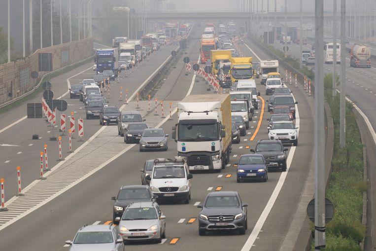 Beeld van de wegenwerken op de E17.