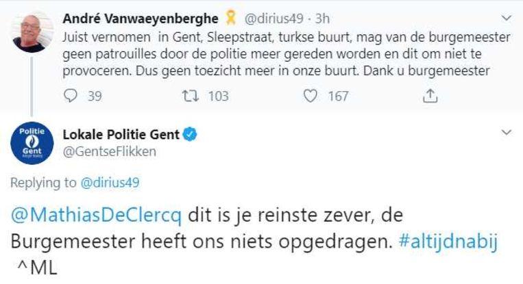 De tweet in kwestie met het antwoord van de Gentse politie erbij.