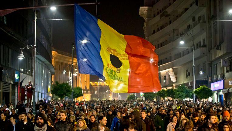 Duizenden demonstranten in Boekarest Beeld ap