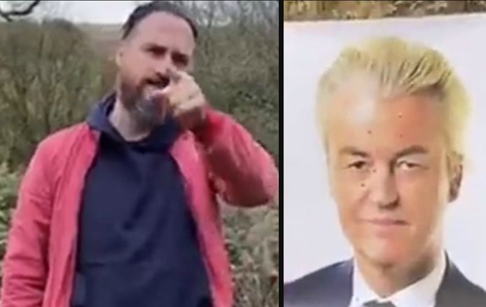 Links: de dreigende Sait Cinar. Rechts: de foto van Wilders die beschoten werd.