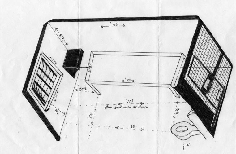 Een schets die Woodfox' medegevangene Herman Wallace van zijn isoleercel maakte. Beeld Trouw