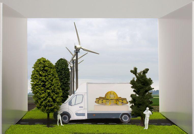 Andreas Blühm over zijn kunstbus: 'Kinderen zullen denken: wat een gekke verjaarstaart.' Beeld null