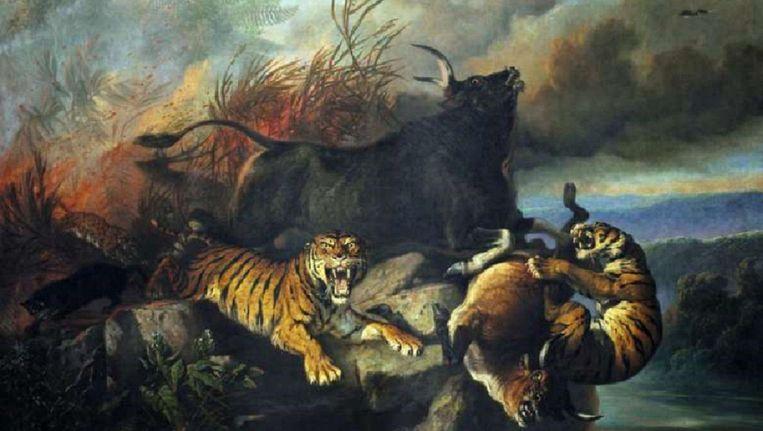 Het schilderij Boschbrand van Raden Saleh Beeld .