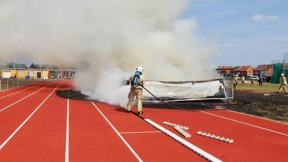Verdachte brand op atletiekpiste