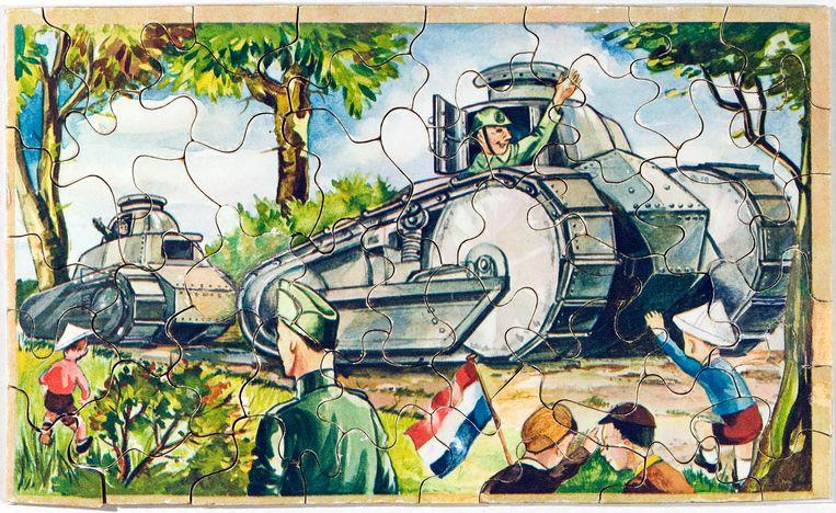 Een 'mobilisatiepuzzel' met een tekening van Marten Toonder. Beeld Coll. G. Bekkering/foto Hans van den Bogaard