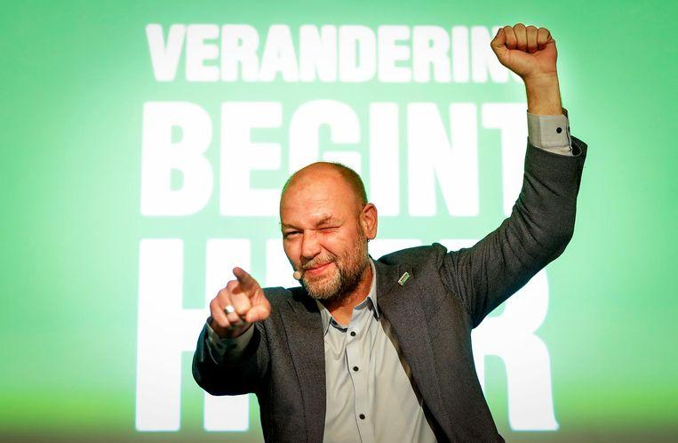 Rutger Groot Wassink als lijsttrekker op de verkiezingsavond van 21 maart, toen Groenlinks de grootste partij van de stad werd. Beeld ANP