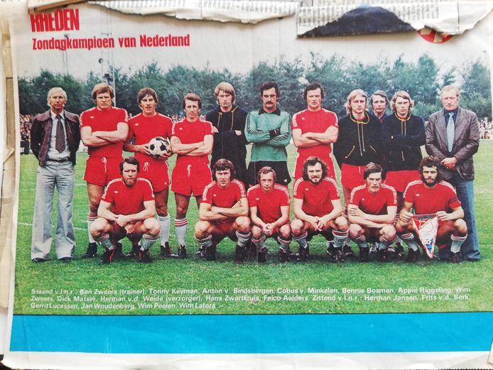 Krantenknipsel uit 1977: Rheden zondagkampioen van Nederland