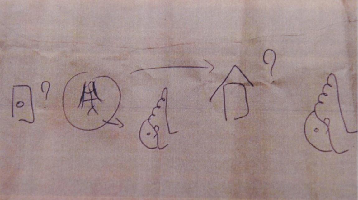 Met tekeningen maakt de man duidelijk dat hij aan de voeten van de studentes wil ruiken.
