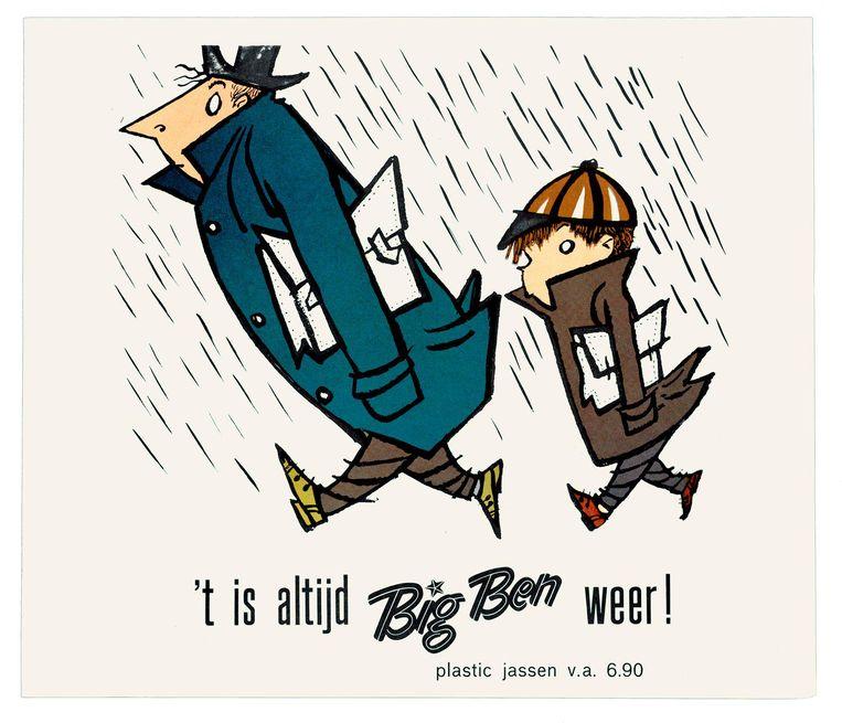 Big Ben reclamecampagne regenkleding Beeld Fiep Westendorp Illustrations