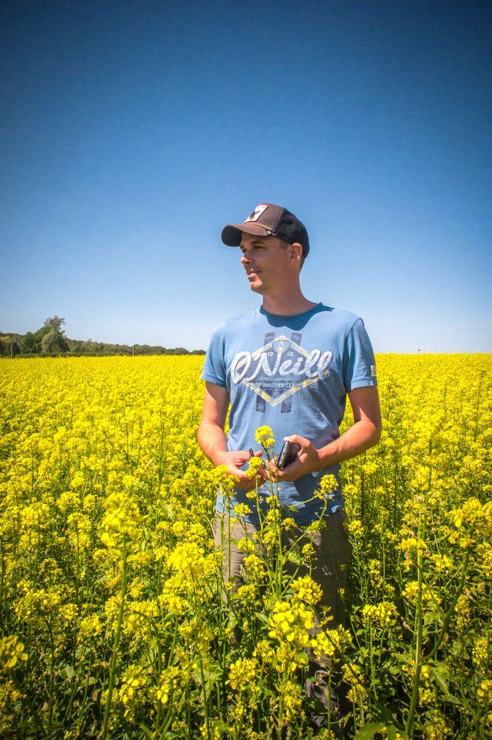 Guillaume, ici au milieu du champ de moutarde, a d'innombrables projets pour la ferme de son père.
