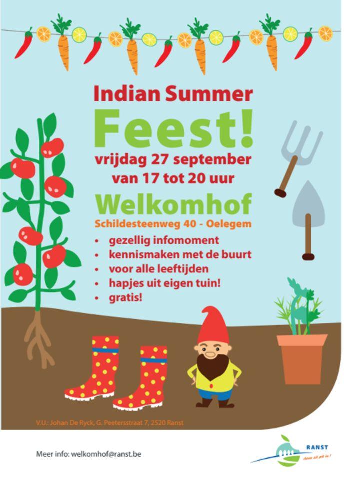 De flyer van het Indian Summer tuinfeest van het Welkomhof in Ranst.