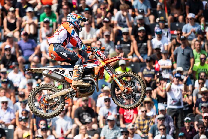 Jeffrey Herlings tijdens de door hem gewonnen GP van Zwitserland.