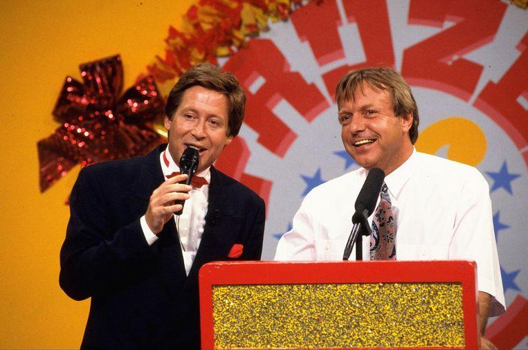 Tom Mulder met Hans Kazan bij Prijzenslag in 1992.  Beeld ANP Kippa