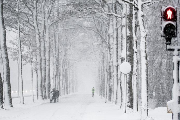Het beeld van vandaag exact twee jaar geleden: fietsers ploeteren door de sneeuw op de Gronausestraat in Enschede.