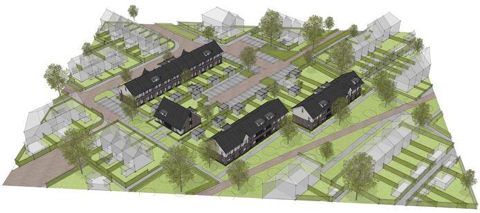 Op de plek van de voormalige Prins Willem Alexanderschool in Heerde komen ruim twintig woningen. Op de voorgrond de koopwoningen. Linksboven de te bouwen huurwoningen.