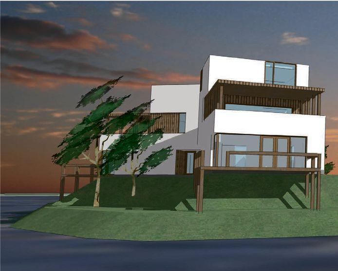 Eén van de verschillende typen huisjes die zijn voorzien op het schiereiland Hanzeland bij Maasbommel.