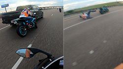 Motorrijder filmt hoe vriend van de baan wordt gemaaid