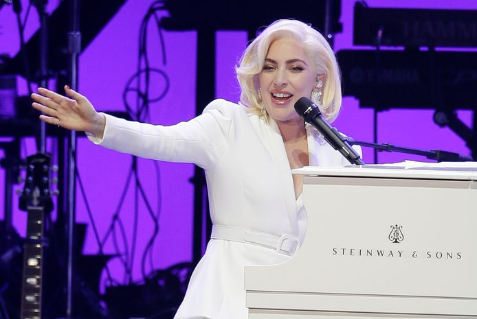 FILE--In this Oct. 21, 2017, file photo, Lady Gaga performs during a hurricanes relief concert in College Station, Texas. Lady Gaga will join the list of superstars with regularly scheduled shows in Las Vegas in 2018, when she kicks off a two-year residency in December. (AP Photo/LM Otero, file)