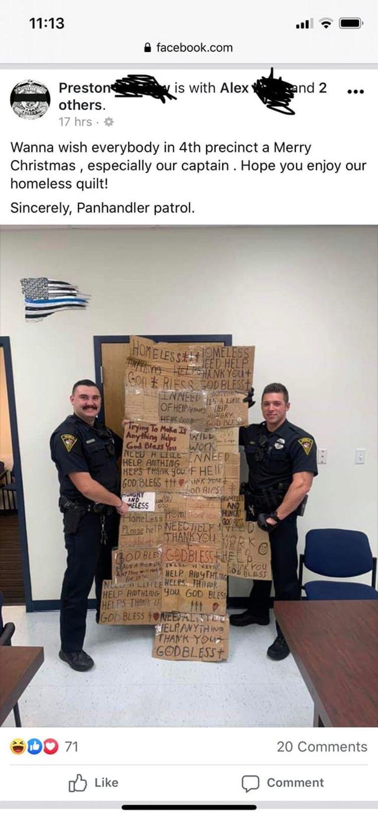 De agenten hebben hun bericht verwijderd, maar de foto zweeft nog rond op sociale media.