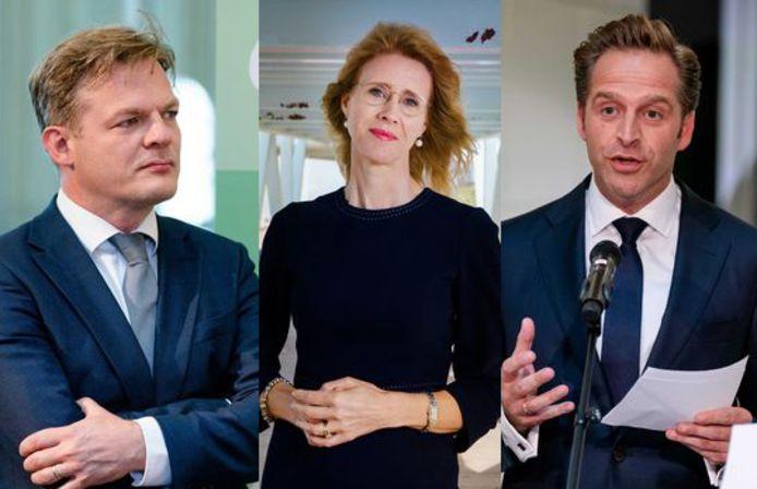 Kandidaten Hugo de Jonge, Mona Keijzer en Pieter Omtzigt kruisen vanavond eenmalig de degens tijdens het lijsttrekkers event in Utrecht