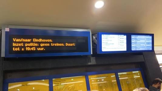 Van en naar Eindhoven is geen treinverkeer mogelijk door de inzet van de hulpdiensten.