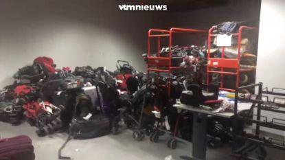 Zo'n 2.000 koffers staan opgestapeld in luchthaven door staking Aviapartner