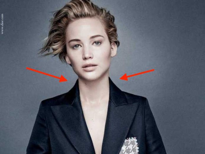 Jennifers schouders werden door Dior vakkundig smaller gemaakt.