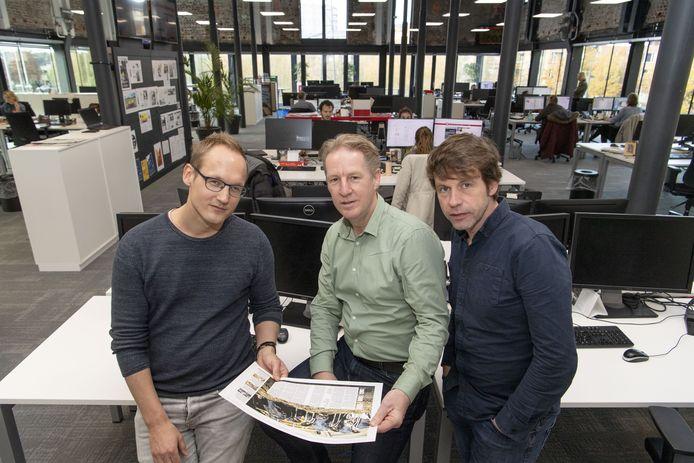 Het project Het Schone Oosten: Judah Bolink (links) , Niek Opten en Leo van Raaij (midden) kijken wat vervuiling is en wat het betekent voor ons