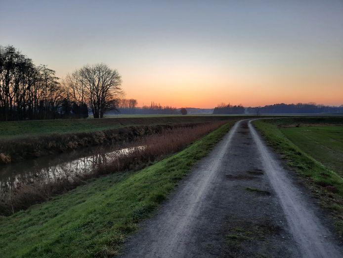 Locatie waar de nieuwe fiets- en wandelbrug Keerbergen - Haacht gerealiseerd zal worden.