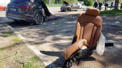 Audi Q7 breekt in twee stukken na crash in Rusland, bestuurder vlucht