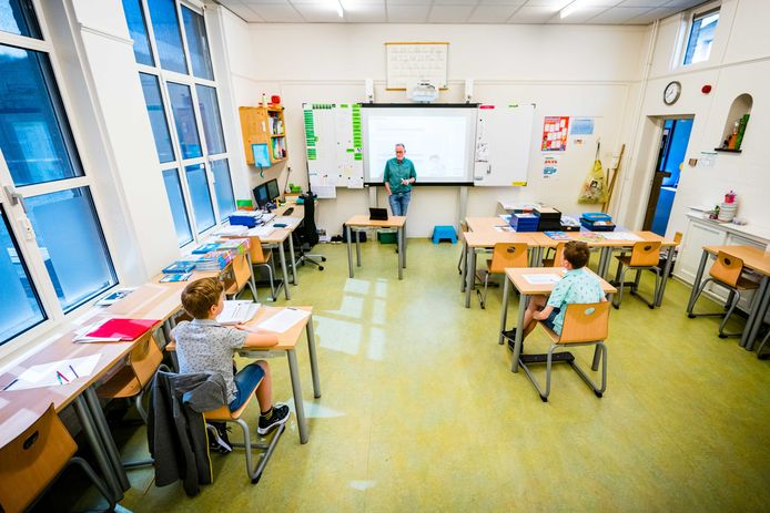 Leerlingen van 't Talent in Schijndel in de klas tijdens de coronacrisis.