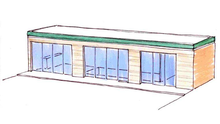 Het tuinhuis met zwembad zoals de ontwerper het voor zich ziet. Beeld Buro Lines