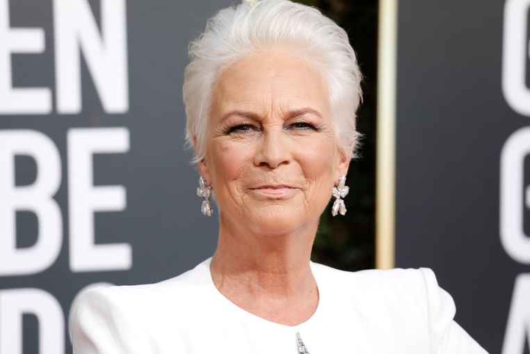 Actrice Jamie Lee Curtis op de rode loper van de Golden Globe Awards.
