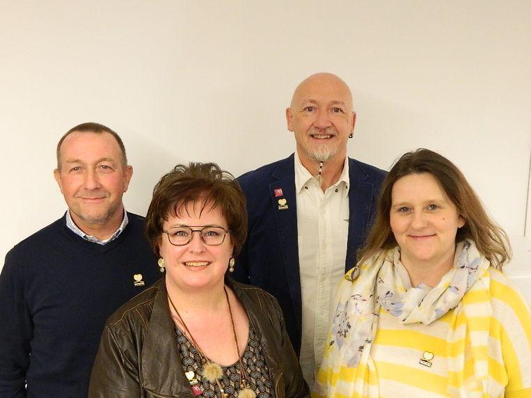 De huidige N-VA-fractie in de gemeenteraad: Frank Dhaenens, Nele Le Roy, Peter Tolpe en Anja De Jans.