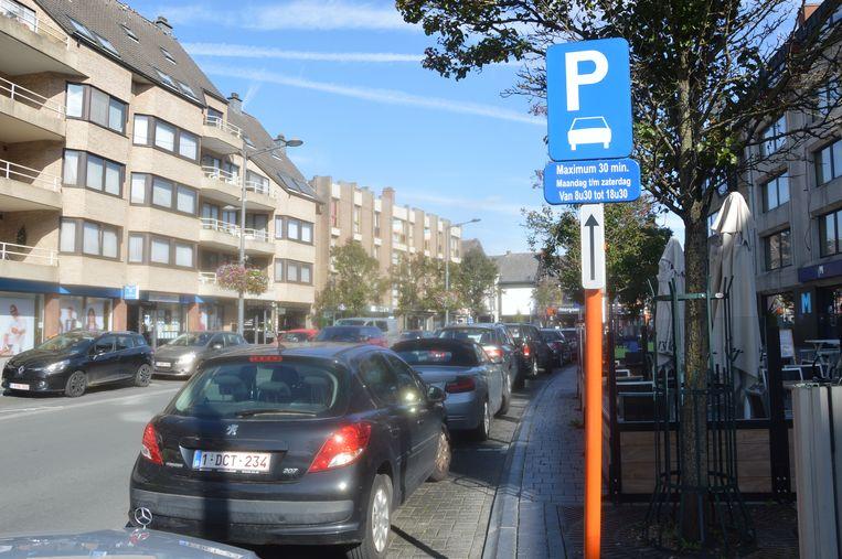 Een deel van de shop & go-parkeerplaatsen langs de Centrumlaan.