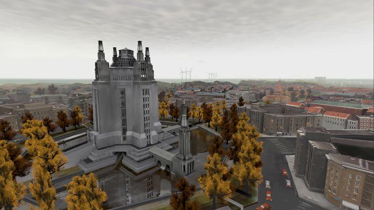 Virtual reality-beeld van Daniël Ernst: Wereldhoofdstad van het  Internationalisme, Den Haag.  Beeld Daniël Ernst